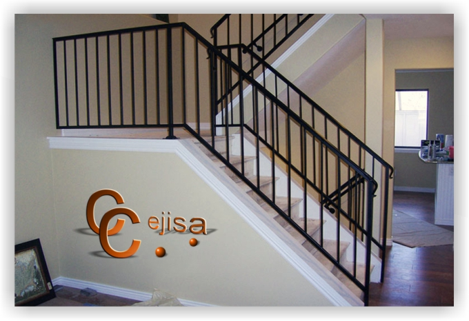 Barandilla en modelo sencillo para escalera de interior - Barandas de hierro modernas ...