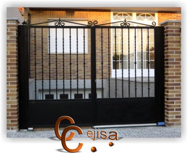 Puertas modernas puerta de entrada en dos hojas modelo moderno - Modelos de puertas de hierro ...
